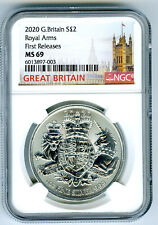2020 2PD GREAT BRITAIN 1OZ SILVER ROYAL ARMS NGC MS69 FIRST RELEASES