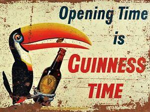 Vintage Retro GUINNESS STOUT BEER Metal Bar Plaque Irish Pub Shed Man Cave SIGN