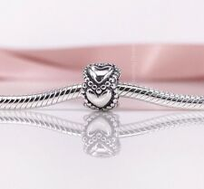 New Genuine Pandora Silver Linked Love Hearts Charm 790448