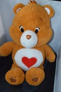 "Care Bears Share Bear Plush Stuffed Brown heart 2014 Large Big 20"""