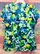 Jockey Women's Green Blue Yellow Interpretations Sea Blue Print Top Size S **