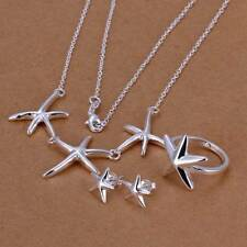 Fashion 925 Silver plated Starfish Earrings Rings Necklace Jewelry Sets S174