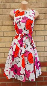 FLORENCE AND FRED WHITE PINK RED CARTOON FLORAL BELTED SKATER TEA DRESS 10 S