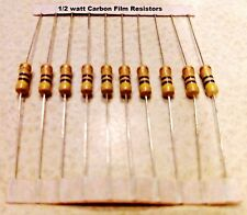 34 VALUES 1/2Watt  Carbon Film Resistors 5%  You get 10 resistors
