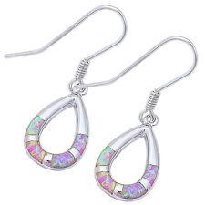 Tear Drop Pink Opal Dangle Srtyle .925 Sterling Silver Earrings
