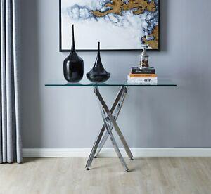 LEONARDO Modern Chrome Metal Tempered Glass Side Living Room Console Table