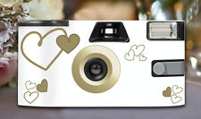 16 x Gold Heart Disposable Wedding Cameras 27exp, flash & matching table cards