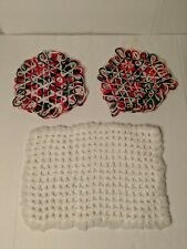 Set Of Three Hand Knitted / Crocheted Christmas Pot Holders