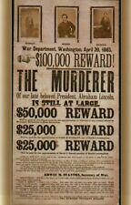 John Wilkes Booth Wanted Poster Assn President Abraham Lincoln - Modern Postcard