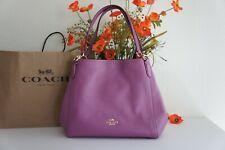 Coach F80268 Hallie Pebble Leather Shoulder Bag Lilac Berry
