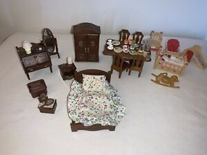 Sylvanian Families Mixed Spare Bedroom + Nursery  & Dinner Party Set