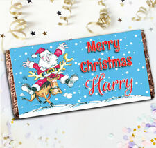 Personalised Santa Merry Christmas Chocolate Bar N113 Stocking Filler Gift