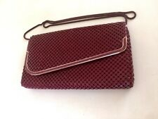 Vintage Burgundy And Gold Glomesh Shoulder Clutch Bag