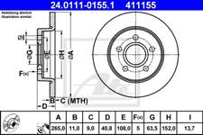 2x Bremsscheibe für Bremsanlage Hinterachse ATE 24.0111-0155.1