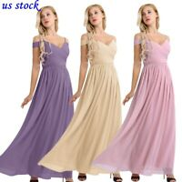 US Women Chiffon V Neck Flare Flowy Long Maxi Bridesmaid Formal Party Gown Dress