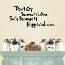 New Inspiring Quotes Wall Sticker Don't Cry Smile Dr Seuss Vinyl Art Wall Decals