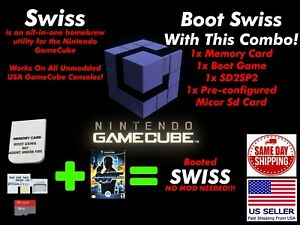 +SWISS GameCube Memory Card Booting SWISS SD Loader SD2SP2 Combo No Mod Needed!