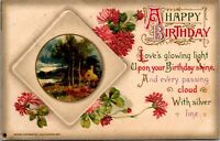 Antique Vtg 1910's GLOWING LIGHT POEM Happy Birthday Wishes Greeting Postcard