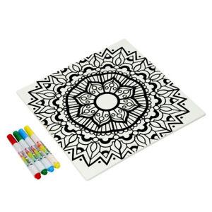 Dexam Just Add Colour Ceramic Colour Your Own Trivet/Worktop Saver - Mandala