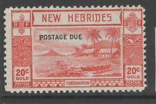 NEW HEBRIDES SGD8 1938 20c SCARLET POSTAGE DUE MTD MINT