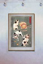 Four Happy Cats 15x22 Japanese Cat Print Kuniyoshi Asian Art Japan Warrior Sushi