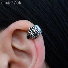 NEW SILVER LION EAR CUFF HELIX CARTILAGE CLIP ON WRAP EARRING EMO PUNK GOTHIC UK