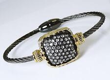 Crystal Magnetic Bangle Bracelet Cable Hematite Gold 2 Tone Wire Designer