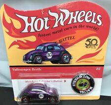Hot Wheels Volkswagen Beetle Purple Car Collectors Button NIP 2017 Malaysia