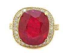 14K YELLOW GOLD 5.50CT CUSHION CUT RUBY AND ROUND CUT DIAMOND BRIDAL HALO ING