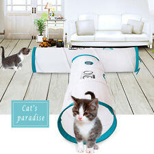 92cm Cat Pet Toy White Tunnel Tube Collapsible Teaser Hide and See Tunnel 3258