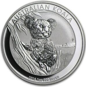 2015 Australian $1 1oz Koala .999 Fine Silver Coin Bullion Australia In Capsule!