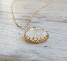 Natural Moonstone LongNecklace 14k gold filled Genuine Moonstone Pendant Jewelry