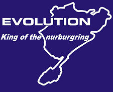 MITSUBISHI EVOLUTION KING OF THE NURBURGRING STICKER IN WHITE ALL COLOURS