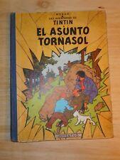 HERGE TINTIN ANCIEN édition espagnole dos tissus  bleu EL ASUNTO TORNASOL