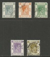 Hong Kong 1941-46 King George VI 2c-30c (155a-61a) used