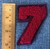 Chenille Patch Number 7 Burgundy Vintage Varsity Letterman Sew On Embroidered