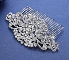 Bridal Wedding Clear Crystal Silver Hair Clip Comb Head Piece