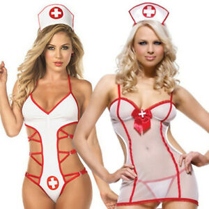Ladies Womens Sexy Naughty Nurse Lingerie Costume Hen Fancy Dress Party Outfit