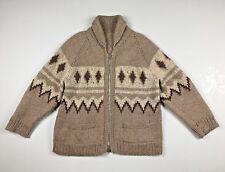 VIntage Hand Kit Heavyweight Wool Mary Maxim Cowichan Zip Sweater Size XL