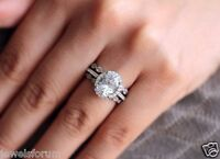 1.8 Ct Oval Cut Solitaire Vintage Diamond Engagement Ring 3 band 14K White Gold