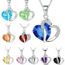 40pcs Women New Heart Crystal Rhinestones Silver Chain Pendant Necklace Jewelry