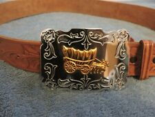 Leather Belt With Silver Buckle (Size 34)