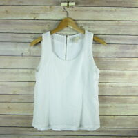 BANANA REPUBLIC Women's Sleeveless Lined Eyelet Blouse SIZE 10 White