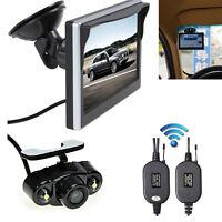 "Wireless 5"" LCD Monitor + Reverse Car Rear View Backup Night Vision Camera Kit"