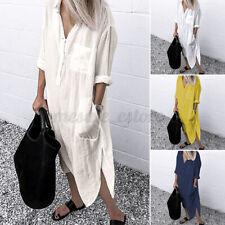 US STOCK Women Kaftan Long Sleeve Button Down Solid Casual Loose Shirt Dress NEW
