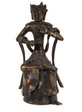 Tibet 19. Jh. Maitreya Sino Tibetan Bronzed Base Metal Figure of Buddha Tibétain