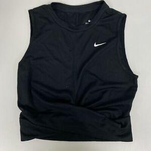 Nike Womens Black Dri-FIT Twist Cropped Logo Training Tank Top Size S $35 NwoT