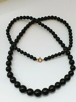 "Vintage 24.4"" Black Glass Graduated Bead Necklace"