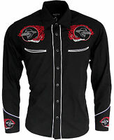 Mens Cowboy Western Rockabilly Skull Flame Shirt Black Line Dancing Long Sleeve