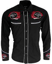 Mens Cowboy Western Rockabilly Skull Flame Shirt Black Line Dancing Long Sleeve